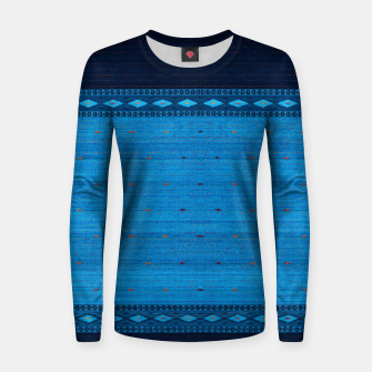 Thumbnail image of Ocean Blue & Indigo Blue North Moroccan Oriental Style Fabric Women sweater, Live Heroes