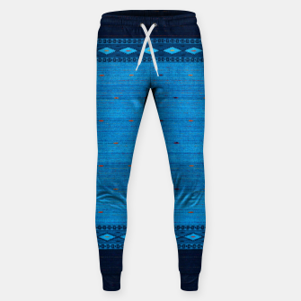 Thumbnail image of Ocean Blue & Indigo Blue North Moroccan Oriental Style Fabric Sweatpants, Live Heroes