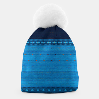 Thumbnail image of Ocean Blue & Indigo Blue North Moroccan Oriental Style Fabric Beanie, Live Heroes