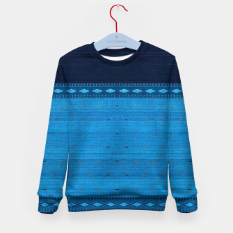 Thumbnail image of Ocean Blue & Indigo Blue North Moroccan Oriental Style Fabric Kid's sweater, Live Heroes