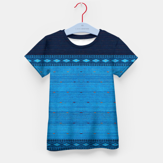 Thumbnail image of Ocean Blue & Indigo Blue North Moroccan Oriental Style Fabric Kid's t-shirt, Live Heroes
