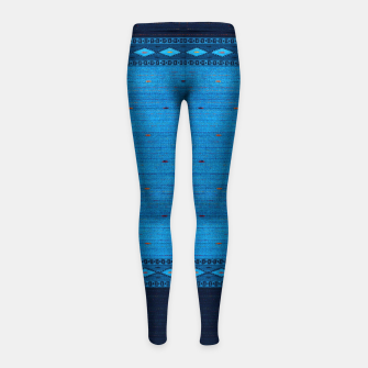Thumbnail image of Ocean Blue & Indigo Blue North Moroccan Oriental Style Fabric Girl's leggings, Live Heroes