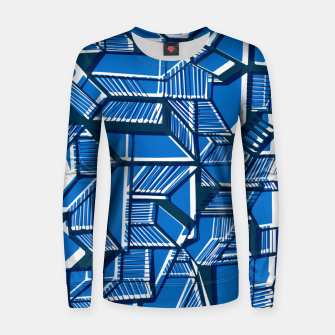 Thumbnail image of Blue Geometric abstract art Women sweater, Live Heroes
