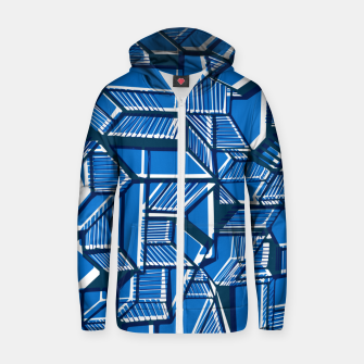 Thumbnail image of Blue Geometric abstract art Zip up hoodie, Live Heroes