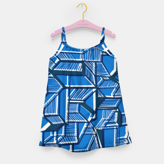 Thumbnail image of Blue Geometric abstract art Girl's dress, Live Heroes
