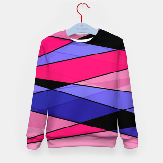 Miniaturka Abstract modern geometry triangles decor shapes print pink violet blue Kid's sweater, Live Heroes