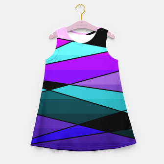 Miniatur Abstract, geometric pattern, pink , turquoise , blue Girl's summer dress, Live Heroes
