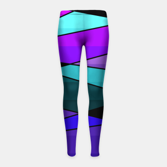 Miniatur Abstract, geometric pattern, pink , turquoise , blue Girl's leggings, Live Heroes