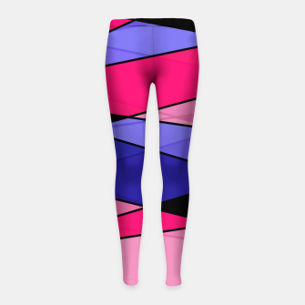 Miniaturka Abstract modern geometry triangles decor shapes print pink violet blue Girl's leggings, Live Heroes