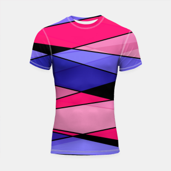 Thumbnail image of Abstract modern geometry triangles decor shapes print pink violet blue Shortsleeve rashguard, Live Heroes