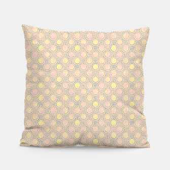 Miniatur Magical mermaid, fish scales in delicate pastel salmon pink color Pillow, Live Heroes