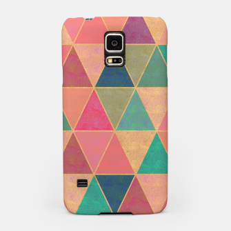 Miniatur Triangle tiles, multicolor geometric pattern with stone effect Samsung Case, Live Heroes