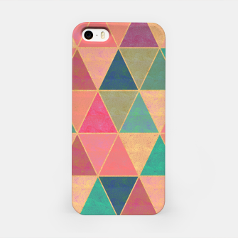 Miniatur Triangle tiles, multicolor geometric pattern with stone effect iPhone Case, Live Heroes