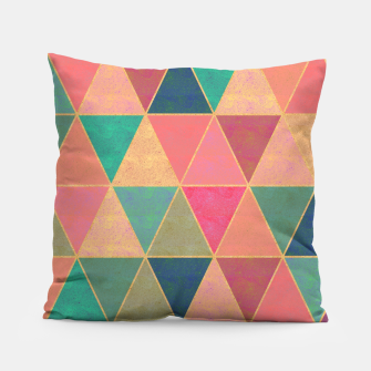 Miniatur Triangle tiles, multicolor geometric pattern with stone effect Pillow, Live Heroes