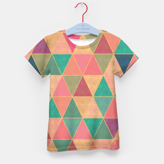 Miniatur Triangle tiles, multicolor geometric pattern with stone effect Kid's t-shirt, Live Heroes