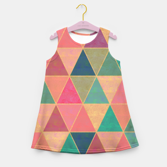 Miniatur Triangle tiles, multicolor geometric pattern with stone effect Girl's summer dress, Live Heroes