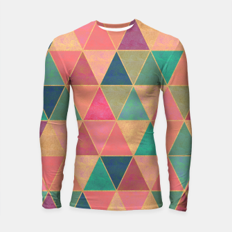 Miniatur Triangle tiles, multicolor geometric pattern with stone effect Longsleeve rashguard , Live Heroes