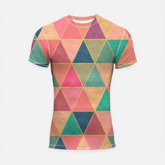 Miniatur Triangle tiles, multicolor geometric pattern with stone effect Shortsleeve rashguard, Live Heroes