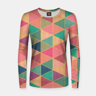 Miniatur Triangle tiles, multicolor geometric pattern with stone effect Women sweater, Live Heroes