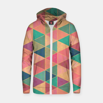 Miniatur Triangle tiles, multicolor geometric pattern with stone effect Zip up hoodie, Live Heroes