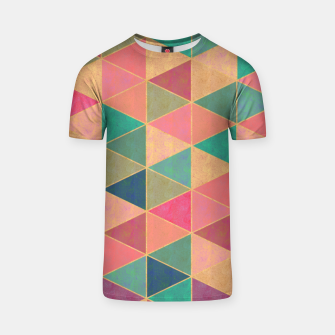 Thumbnail image of Triangle tiles, multicolor geometric pattern with stone effect T-shirt, Live Heroes