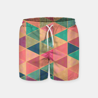 Miniatur Triangle tiles, multicolor geometric pattern with stone effect Swim Shorts, Live Heroes