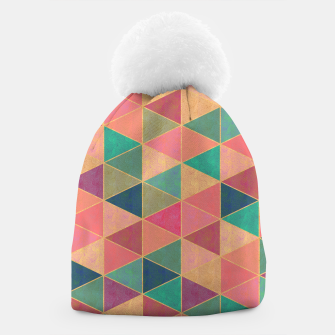 Miniatur Triangle tiles, multicolor geometric pattern with stone effect Beanie, Live Heroes