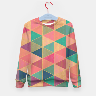 Miniatur Triangle tiles, multicolor geometric pattern with stone effect Kid's sweater, Live Heroes