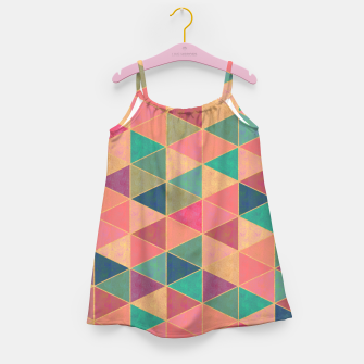 Miniatur Triangle tiles, multicolor geometric pattern with stone effect Girl's dress, Live Heroes