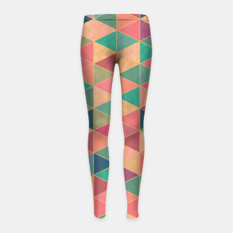 Miniatur Triangle tiles, multicolor geometric pattern with stone effect Girl's leggings, Live Heroes