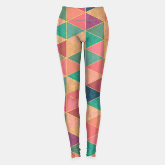 Miniatur Triangle tiles, multicolor geometric pattern with stone effect Leggings, Live Heroes