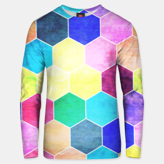 Thumbnail image of Honeycombs print, colorful hexagons lookalike bee cells Unisex sweater, Live Heroes