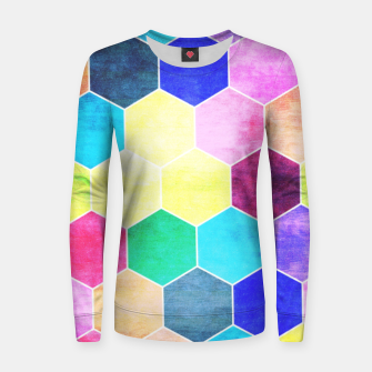 Thumbnail image of Honeycombs print, colorful hexagons lookalike bee cells Women sweater, Live Heroes