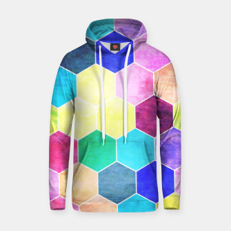 Thumbnail image of Honeycombs print, colorful hexagons lookalike bee cells Hoodie, Live Heroes