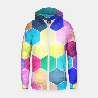 Thumbnail image of Honeycombs print, colorful hexagons lookalike bee cells Zip up hoodie, Live Heroes