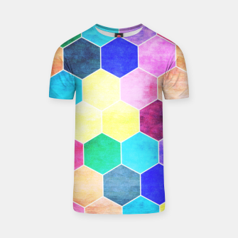 Thumbnail image of Honeycombs print, colorful hexagons lookalike bee cells T-shirt, Live Heroes