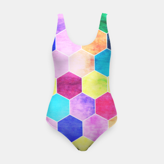 Thumbnail image of Honeycombs print, colorful hexagons lookalike bee cells Swimsuit, Live Heroes