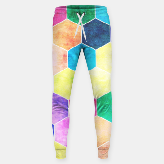 Thumbnail image of Honeycombs print, colorful hexagons lookalike bee cells Sweatpants, Live Heroes