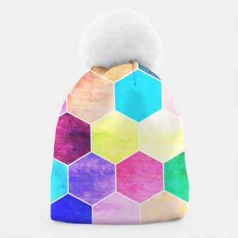 Thumbnail image of Honeycombs print, colorful hexagons lookalike bee cells Beanie, Live Heroes