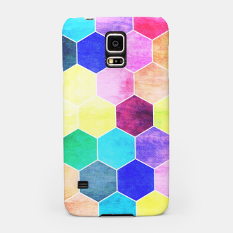 Thumbnail image of Honeycombs print, colorful hexagons lookalike bee cells Samsung Case, Live Heroes
