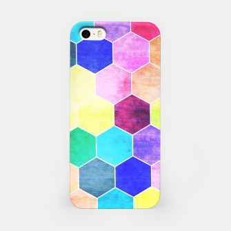 Thumbnail image of Honeycombs print, colorful hexagons lookalike bee cells iPhone Case, Live Heroes