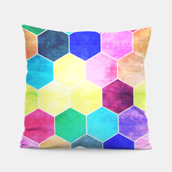 Thumbnail image of Honeycombs print, colorful hexagons lookalike bee cells Pillow, Live Heroes