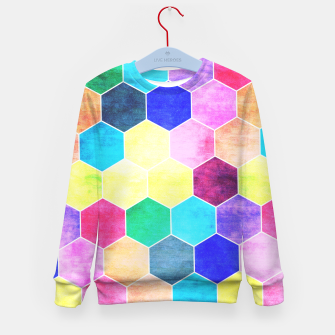 Thumbnail image of Honeycombs print, colorful hexagons lookalike bee cells Kid's sweater, Live Heroes
