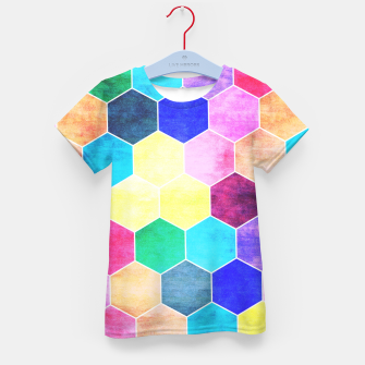 Thumbnail image of Honeycombs print, colorful hexagons lookalike bee cells Kid's t-shirt, Live Heroes