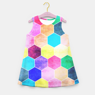 Thumbnail image of Honeycombs print, colorful hexagons lookalike bee cells Girl's summer dress, Live Heroes