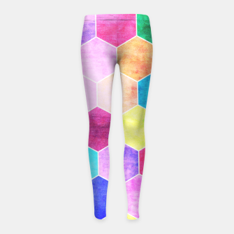 Thumbnail image of Honeycombs print, colorful hexagons lookalike bee cells Girl's leggings, Live Heroes