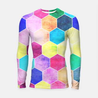Thumbnail image of Honeycombs print, colorful hexagons lookalike bee cells Longsleeve rashguard , Live Heroes