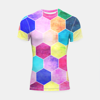 Thumbnail image of Honeycombs print, colorful hexagons lookalike bee cells Shortsleeve rashguard, Live Heroes
