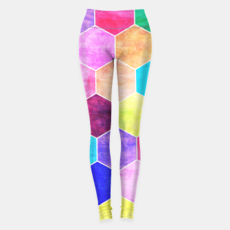 Thumbnail image of Honeycombs print, colorful hexagons lookalike bee cells Leggings, Live Heroes