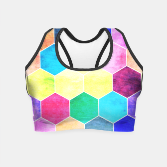 Thumbnail image of Honeycombs print, colorful hexagons lookalike bee cells Crop Top, Live Heroes